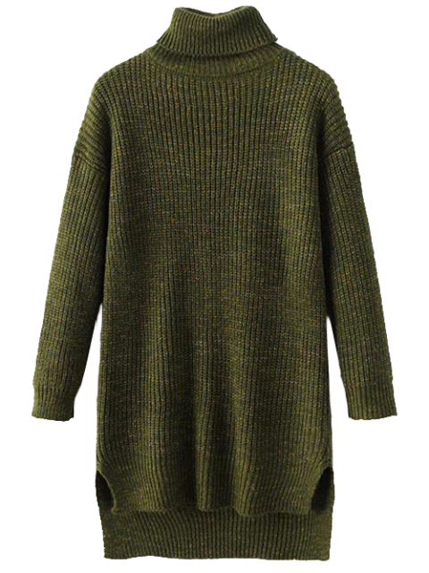 fashion Side Slit Turtleneck Heather Sweater - ARMY GREEN ONE SIZE Mobile
