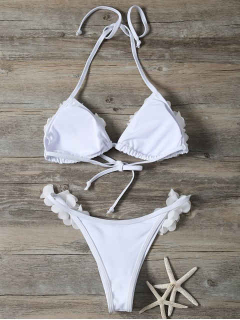 outfit Stereo Flower Bikini Swimwear - WHITE S Mobile