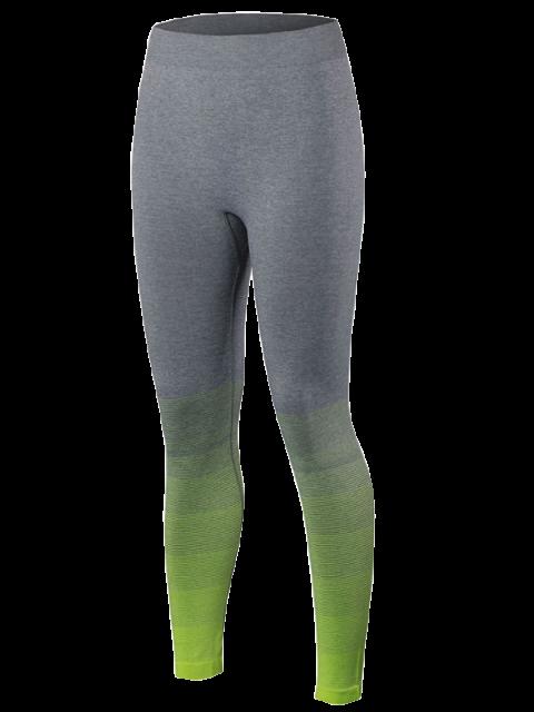 trendy Gradient Color Sport Leggings - FLUORESCENT YELLOW M Mobile