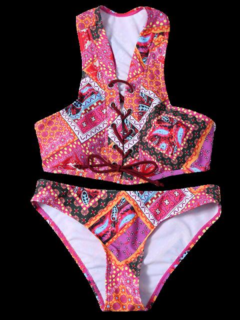 fancy Lace Up Tribal Print Bikini Set - COLORMIX M Mobile