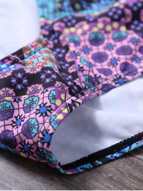 affordable Printed Lace Up Racerback Bikini Set - PURPLE L Mobile