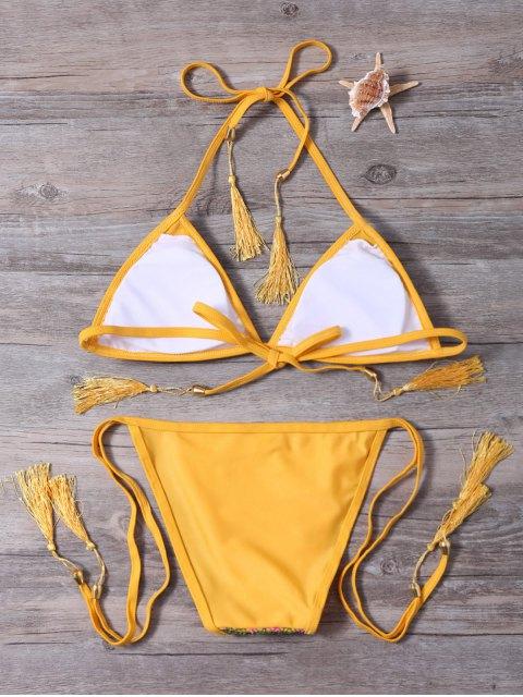 lady Strappy Tassel Crochet Panel Bikini Set - GINGER S Mobile