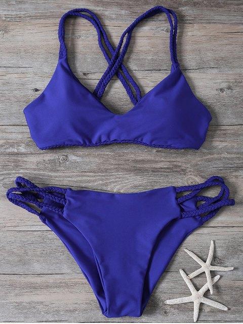 buy Crisscross Braided Strap Thong Bikini - BLUE S Mobile