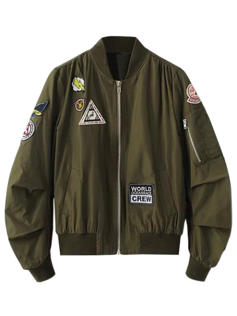 fashion Patch Design Stand Neck Zipper Up Jacket - ARMY GREEN S Mobile