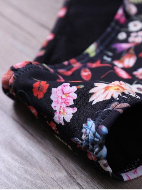 shops Floral Halter Cut Out Wrap Bikini Set - BLACK S Mobile