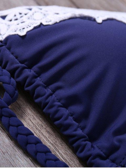 ladies Lace Panel Side Tie Rope Bikini Set - CADETBLUE XL Mobile