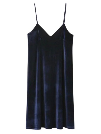 Velvet Cami Slip Dress - PURPLISH BLUE L Mobile