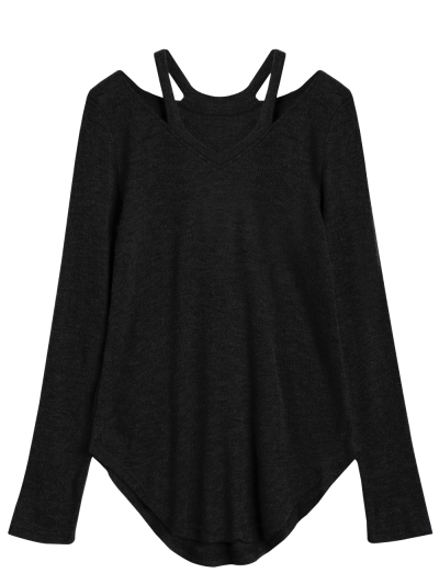 Cut Out V Neck Pullover Sweater - BLACK XL Mobile