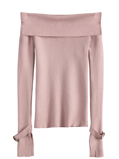 Split Sleeve Off The Shoulder Sweater - PINK ONE SIZE Mobile