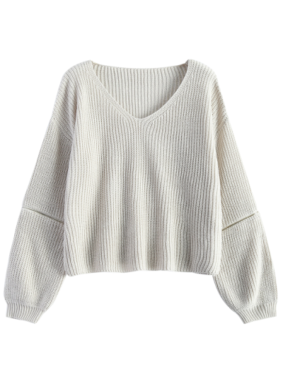 Zipper Cutout V Neck Sweater - OFF-WHITE ONE SIZE Mobile