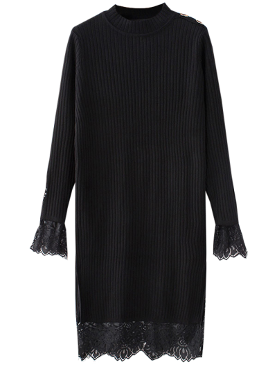 Lace Panel Cut Out Knitting Dress - BLACK ONE SIZE Mobile