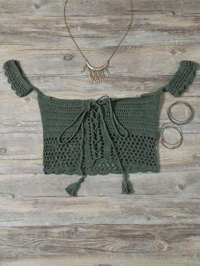 Knitted Off The Shoulder Bikini Bra - Green