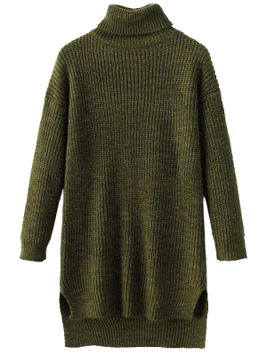 Side Slit Turtleneck Heather Sweater - Army Green