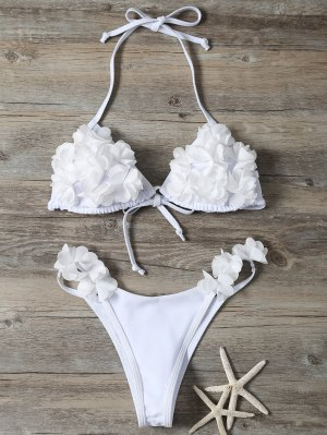 Stereo Flower Bikini Swimwear - White