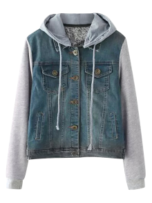 Buttoned Hooded Denim Spliced Jacket - Blue