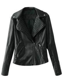 Zippered Lapel Collar Biker Jacket - Black S