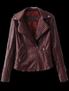 Zippered Lapel Collar Biker Jacket - Dark Red