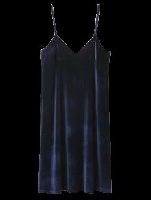 Velvet Cami Slip Dress - Purplish Blue S