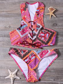 Lace Up Tribal Print Bikini Set