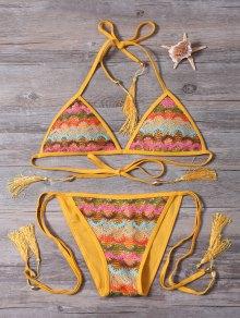 Ensemble Bikini à Bande En Crochet Avec Gland - Curcumae L