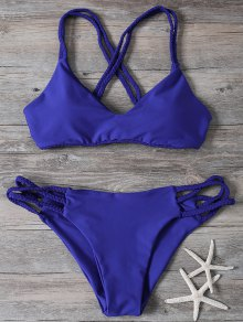 Crisscross Braided Strap Thong Bikini - Blue