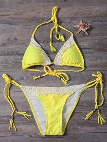 Lace Panel Side Tie Rope Bikini Set - Yellow