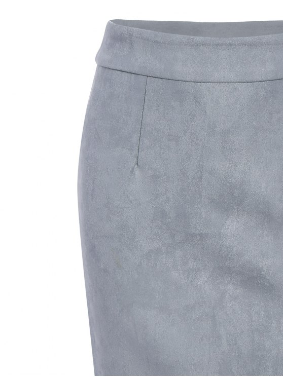 Suede Bodycon Skirt with Tube Top - GRAY L Mobile