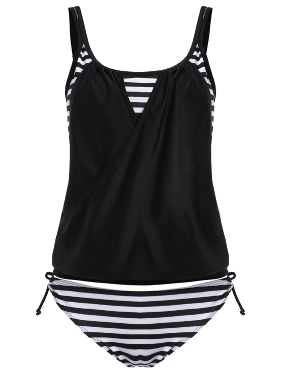 Striped Spaghetti Strap Blouson Tankini Bathing Suits - BLACK 2XL Mobile