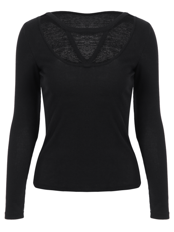 Scoop Neck Strappy T-Shirt - BLACK S Mobile
