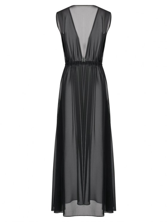Sleeveless Drawstring Beach Maxi Dress - BLACK S Mobile