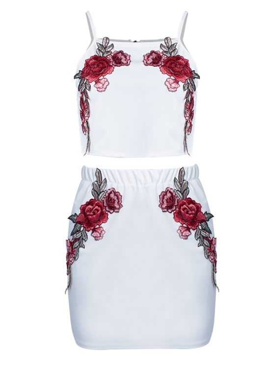 Floral Embroidered Zippered Top with Skirt - WHITE M Mobile