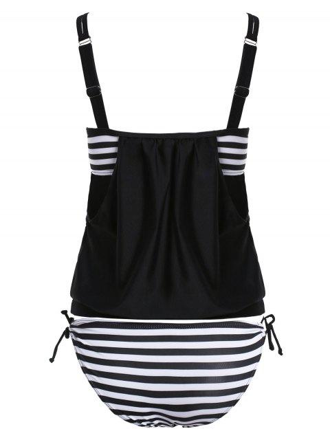 outfits Striped Spaghetti Strap Blouson Tankini Bathing Suits - BLACK L Mobile
