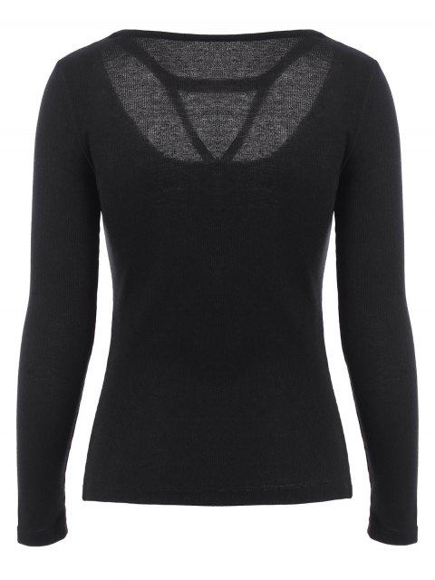 affordable Scoop Neck Strappy T-Shirt - BLACK S Mobile