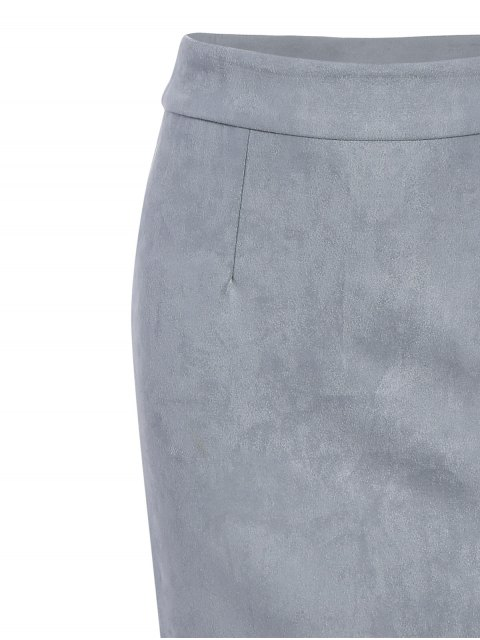womens Suede Bodycon Skirt with Tube Top - GRAY M Mobile