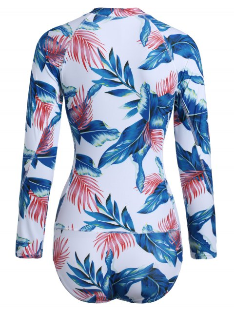 women's Zip Leaf Print Long Sleeve One Piece Swimsuit - WHITE 2XL Mobile