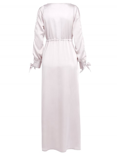 unique Thigh Split Cold Shoulder Maxi Plunge Dress - APRICOT M Mobile