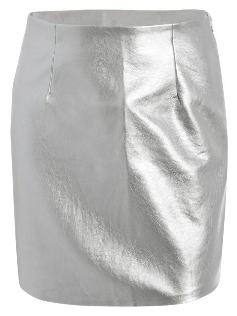 sale Metal Colour PU Leather Mini Skirt - SILVER S Mobile