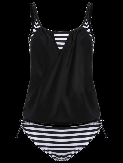 Striped Women's Tankini Bathing Suits - BLACK 2XL Mobile