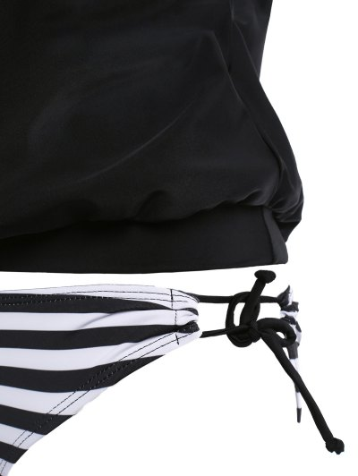 Striped Women's Tankini Bathing Suits - BLACK XL Mobile