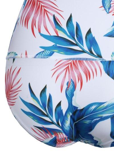 Leaf Print Long Sleeve Swimwear - WHITE XL Mobile