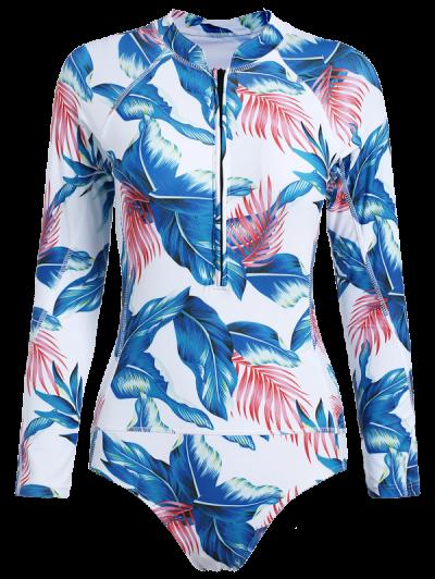 Leaf Print Long Sleeve Swimwear - WHITE L Mobile