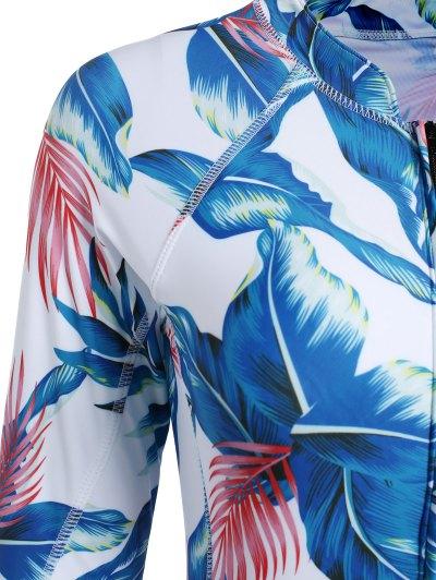 Leaf Print Long Sleeve Swimwear - WHITE M Mobile