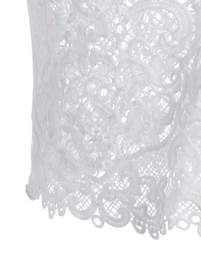 Plunge Neck Sheer Lace Cami Top - WHITE ONE SIZE Mobile