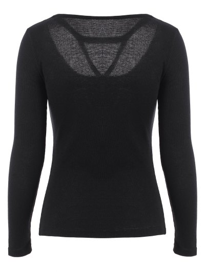 Scoop Neck Strappy T-Shirt - BLACK M Mobile