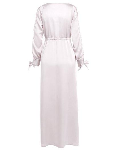 Thigh Split Maxi Plunge Dress - APRICOT 2XL Mobile