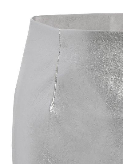 Metal Colour PU Leather Mini Skirt - SILVER S Mobile