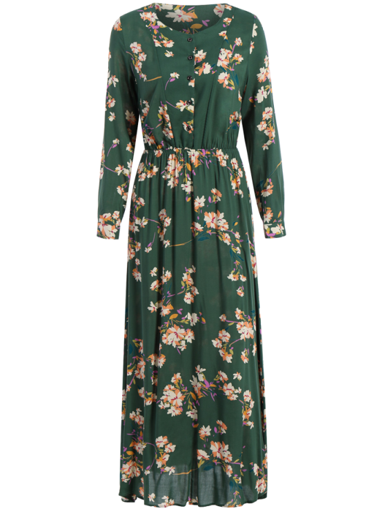 Long Sleeves Maxi Floral Dress - GREEN L Mobile