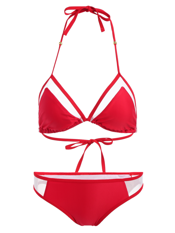 Color Block See-Through Halter Bikini Set - RED XL Mobile