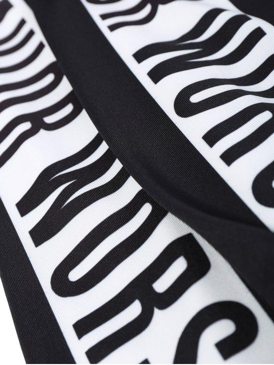 Letter Print Color Block Sports Leggings - BLACK M Mobile