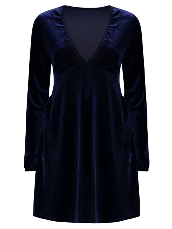 Empire Waist A Line Velvet Dress - PURPLISH BLUE S Mobile
